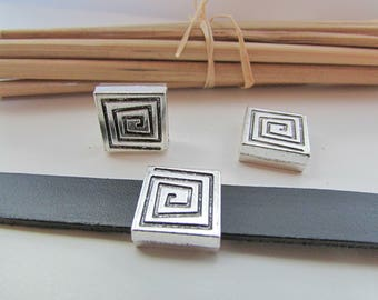 5 Pearl passing 53.19 cord 2 mm - silver metal - 14 mm-10 x
