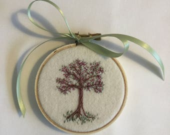 Embroidered blossoming tree