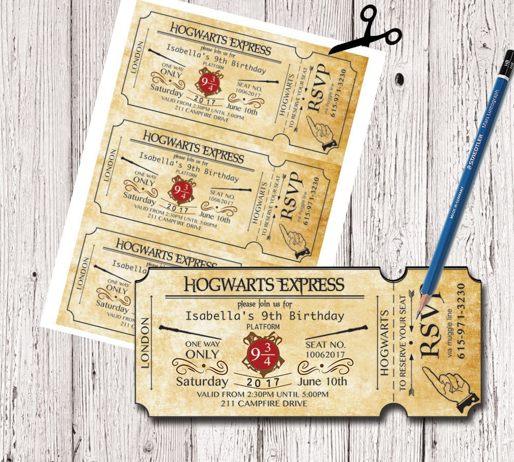 Favori Harry Potter Birthday Ticket Invitation Hogwarts Invitation BO31