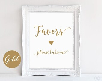 Gold Wedding Favors Sign, Printable Wedding Favors Sign, Modern Calligraphy, VW10GOLD