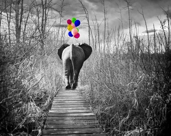 Whimsical Elephant, Elephant with Balloons, Nursery Decor, Home Decor, Children's Decor, Boardwalk Elephant, Funny Animal Art, Whimsy Art