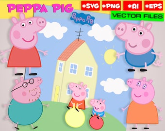 Peppa Pig SVG PNG, EPS Ai 7 files Vector files Digital Peppa Pig clipart Instant Download Home Pig svg party Peppa Pig George Pig svg png