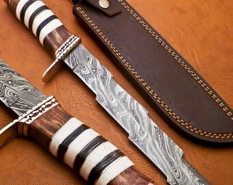 Knifehills Rare Custom Damascus Kriss Dagger Knife Stacked  Camel Bone Handle