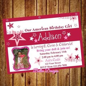 American girl invite Etsy
