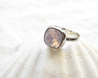 Swarovski Cushion Cut Rose Water Opal Solitaire Silver Ring. Adjustable Ring. Spring Fashion. Jewelry under 25. Simple Modern Jewelry