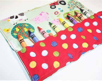 On The Farm - Crayon Roll Up - Kids Stocking Stuffer