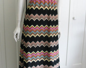 Vintage 70's Flame Stitch Halter Mod Maxi  Dress - Sz Medium - Large - Leslie J.