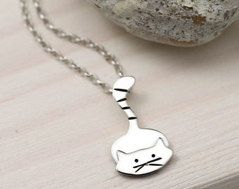 Kitty Cat Necklace - Sterling Silver Cat Jewellery - Cat Gift
