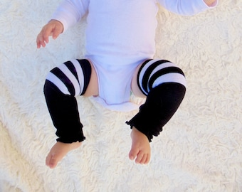 Baby Leg- Black and white stripes baby leg warmers
