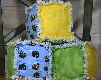 Soft Toys Stacking Blocks - Stuffed Toys Rag Quilt Blocks -Stacking Toys