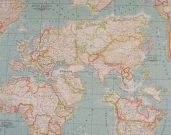 110 world map fabric double wide fabric sold by the yard