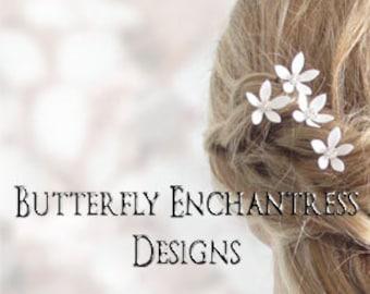 SALE Bridesmaid Hair Flowers, Bridal Wedding Accessories, White Ivory - 12 Vintage-inspired Mini Orange Blossom Hair Pins - Rhinestone