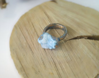 Blue crystal ring, fairy ring, fairy jewelry, dreamy jewelry, ancient ring, medieval ring, boho ring, gypsy ring, fantasy jewelry, woodsy
