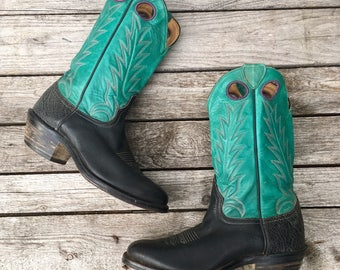 9 D   Men's Larry Mahan Turquoise and Black Western Boots w/ Purple Stitching