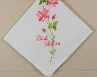Vintage Best Wishes Hankie  / Best Wishes Hankerchief / Pink Best Wishes Wedding Hankie