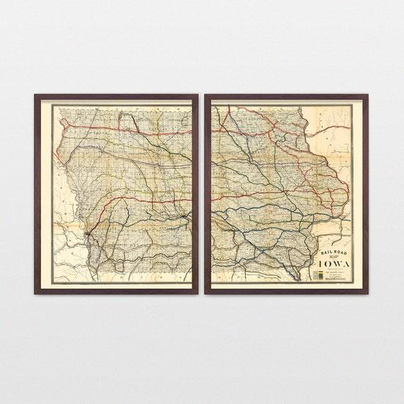 Iowa Map - Antique Map - Archival Reproduction - Iowa - Iowa Poster - Iowa Art - Iowa Wall Art - Iowa Decor - State Map - State Art - Rail
