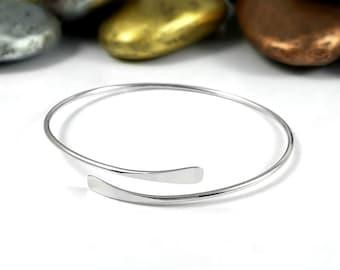 Silver Wrap Bracelet, Thin Silver Bracelet, Wrap Cuff Bracelet, Silver Cuff Bracelet, Thin Bracelet, Hammered Bracelet, Layering Bracelet