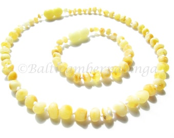 Set Of Raw Baltic Amber Teething Necklace and Bracelet/Anklet