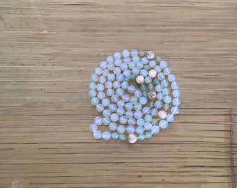 Opalite, Howlite and Agate silk thread, hand knotted beaded necklace and bracelet set