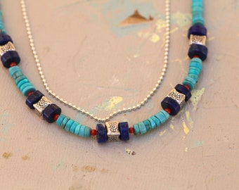 Squared Up Beaded Strand Necklace