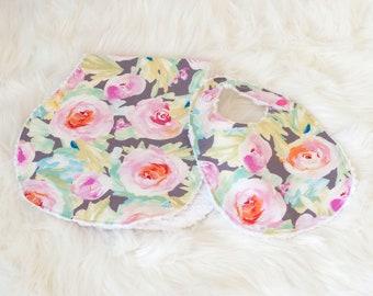 Watercolor Floral  || Bib & Burp Cloth
