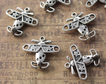 10 Airplane Charms Airplane Pendants Antiqued Silver Tone 3D 20 x 15 mm