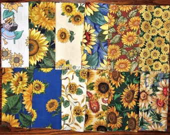 "Sunflower Fabric  24 - 6"" Square Charm Bundle 2 Each"