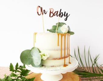 Oh Baby Cake Topper / Baby Shower Cake Decoration / New Baby Cake Topper / Rose Gold Party Decor / Baby Shower Gift / Calligraphy Cake Decor