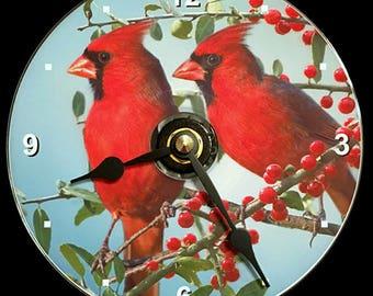 New CARDINAL BIRD Wall Clock - CD/Dvd Size! 4.75 inch diameter. Northern Cardinals American. Red Bird. Great Christmas Gift! Kitchen Bedroom