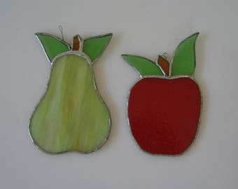 STAINED GLASS FRUIT Fruit Decor Red Apple Green Pear 2 Set Silver Stain Colorful hand made