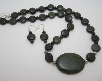 African Green Jasper Necklace Set