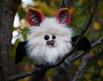 PUMPKIN-  Plush Bat, OOAK Bat Soft Sculpture, Fibre Art, Plush, Needle felting, Halloween Plush