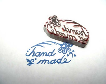 Say Hand Made Flower Folk Art Rubber Stamp, Unique And Special Stamp, Say Hand Made To Your Customers With This Unique Folk Art Rubber Stamp