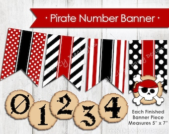 DIY Pirate Number Banner - Instant Download