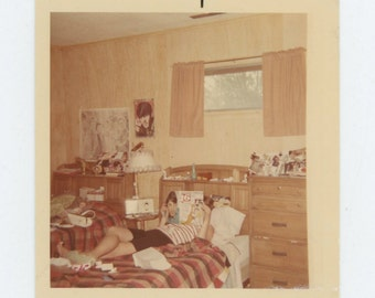 Vintage Snapshot Photo: Teenager in Bedroom, 1960s (71541)
