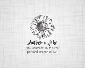Daisy Personalized Address Stamp, Return Address Stamp, Self Inking Stamp, Rubber Stamp, Wedding Return Address Stamp, Custom Stamper