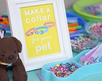 "Puppy Kitten Birthday Party 5""x7"" INSTANT DOWNLOAD Printable Digital File Make a Collar for your Pet Sign, Craft Table Cat, Dog Bow Wow Meow"