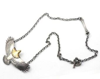 Eagle Necklace | Silver Eagle Charm | Eagle Jewelry | Bird Necklace | 18K Gold Charm | Silver Eagle Pendant | Tribal Charm Necklace Oxidized