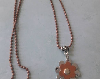 Bloom// Flower stamped Necklace//Gift for her//Pewter &Copper stacked flower// Cute necklace // Can be personalized