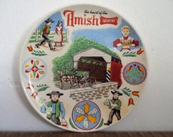Colorful Vintage Amish Country Souvenir Decorative Plate
