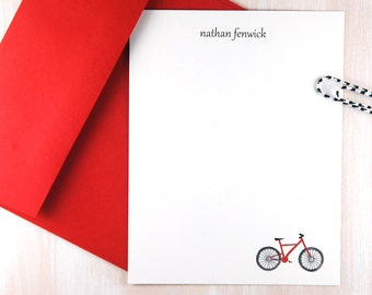 Personalized Stationery Set of 12, Bicycle Art, Flat Note Cards, Custom Stationary, Birthday Thank You, Watercolor Stationary