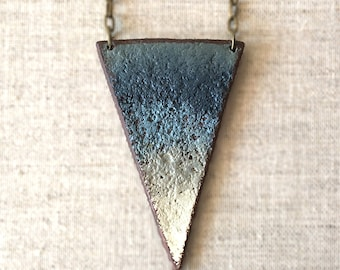 Triangle Ombre Modern Necklace, Geometric Jewelry, Sculptural Necklace, Long Simple Necklace, Statement Jewelry, Slate Charcoal and Blue