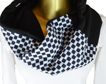 fall scarf, women scarf, men scarf, wax and knit scarf, black scarf, checkered scarf, African print scarf, gift for him, gift for her
