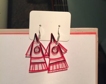 Red and black Rocket Ship Earring