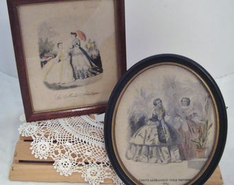 Pair of Small Vintage Framed Godfey's French Fashion Prints