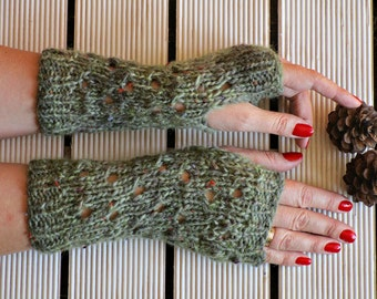 Hand knit mittens Knitted mittens Knit wool mittens Green wool mittens Fingerless mittens Olive Knit gloves Green gloves gift for girlfriend