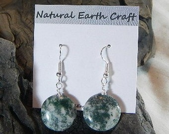 Green moss agate earrings multicolored Indian agate circle beads semiprecious stone jewelry packaged in a colorful gift bag 2732 AB