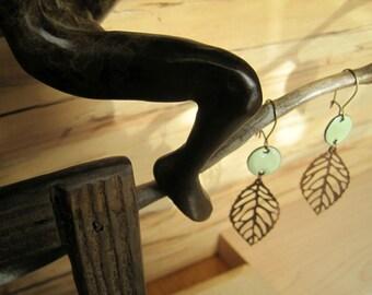 Copper Leaf Dangle Earrings, Enamel Earrings, Lichen Green Chandelier Earrings Nickel free kidney ear w