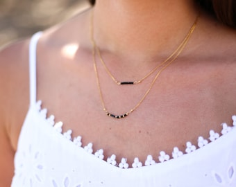 Layered gold Necklace, black layered chain, multistrand necklace, minimal necklace, bridesmaid gift, tiny gold nuggets, fine jewelry