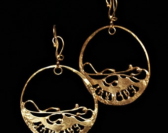Gold big round earrings for women, Ana Bekoach statement  jewelry made in Israel.